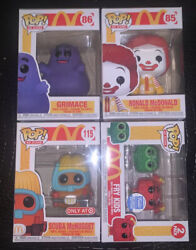 Funko Ad Icon Mcdonalds Lot Of 4 Ronald ,grimace , Fry Kids , And Scuba Nugget