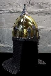 16ga Brass And Steel Medieval Etched Norman Black Grave Viking Helmet W Chainmail
