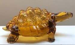 Vintage Lg Wright Amber Glass Turtle Covered Candy Dish Mid Century Knobby Back