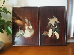 2 Panneaux Bois Chinois Incrustation Pierre Sculptandeacute Pair Of Chinese Panel Inlay
