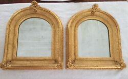 Pair Of Early Victorian Gold Gilt Framed Mirrors, 16 Wide X 19 High, 1850's