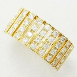 Jewelry 18k Yellow Gold Ring 17 Size Diamond 0.390 About6.9g Free Shipping Used