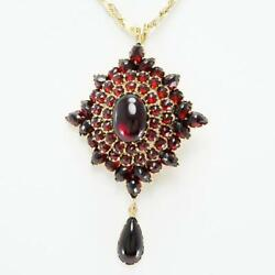 Jewelry 14k Yellow Gold Necklace Brooch Garnet About19.5g Free Shipping Used