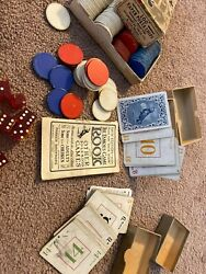 Vintage Parker Brothers 1913 Dixie Rook Game Very Old Paper Poker Chips And Dice