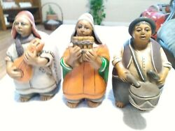 Three Man Band African American Blues/jazz Band Players, Clay Figurines