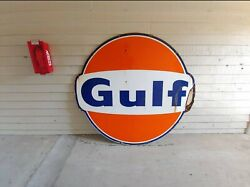 Vintage 72 Inch 6 Foot Gulf Porcelain Advertising Sign