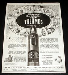 1925 Old Magazine Print Ad, The Thermos Vacuum Bottle, Keeps Hot, Keeps Cold