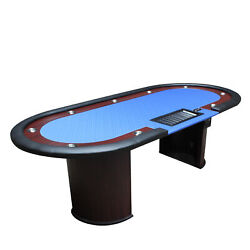 96 Classic Luna Poker Table Blue Speed Cloth Racetrack Chip Tray Drop Box
