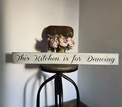 This Kitchen Is For Dancing Sign Distressed Grey Shabby Chic Home Gift