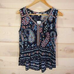 NWT Patrons Of Peace S Sleeveless Top Boho High Low Floral Hippie Navy Blue