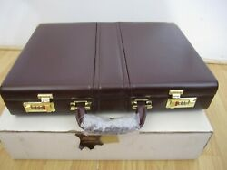 Vintage Burgundy Leather Briefcase W/ Settable Combination Lock - Heritage - New