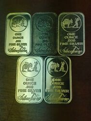 Vintage Lot Of 5, 1oz .999 Silver Bars Silvertowne Mint And Others 5 Try Oz Total