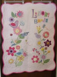 Lullaby Birds Embroidered Quilted Crib Blanket Or Nursery Wall Décor 35 X 43