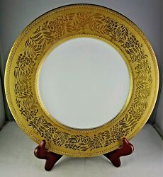 Hutschenreuther Heavy Gold Floral Encrusted Cabinet Plate