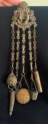 Rare Antique Victorian 1800s Trio Chatelaine Sewing Belt Clip Mermaid And Baby 5