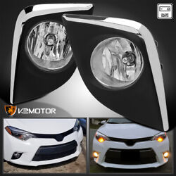 For 2014-2016 Toyota Corolla Clear Driving Fog Lights Lamps+wirings+sliver Bezel