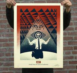 Obey Giant Shepard Fairey Conformity Trance Screen Print Red Street Art Poster