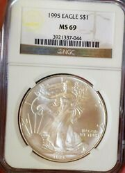 Silver Eagle 1995 Ngc Ms 69+++++++ Satin White Possible Upgrade Coin Rare In 70