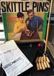 Vintage Skittle Pins Bowl Bowling Game Box Indoor Wood 940 Instructions Score
