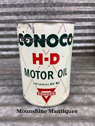 1950's Conoco H-d Motor Oil Can 1 Qt. - Gas And Oil