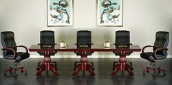12and039 Ft Real Wood Traditional Conference Table With Queen Anne Legs 144x48