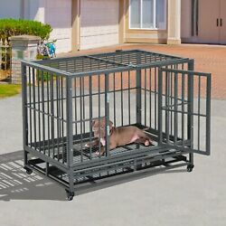 36 Heavy Duty Steel Dog Crate Kennel Runs With Wheels Pet Cage - Grey Vein