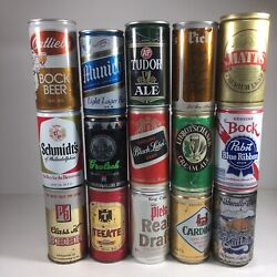 Vintage Beer Can Lot Of 15 Bottom Opened Schmidt Braumeister Cardinal Munich