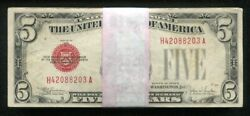 100 1928 5 Five Dollars Red Seal Legal Tender United States Notes Vf-au