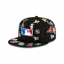 Mlb All Over Logos Fitted Hat Cap New Era 100th Anniversary 30 Baseball Teams Us