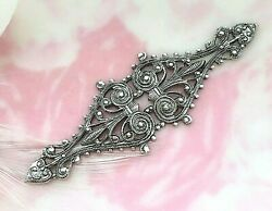 Antique Silver Filigree Bar Spray Stamping Jewelry Finding Cb-3081