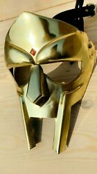 Mf Doom Gladiator Mask Steel Golden Finish In Brass Plating Mask