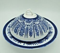 Antique Covered Muffin Butter Cheese Dish Blue White Lily Coalport Worcester