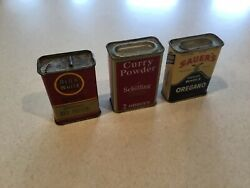 3 Vintage Spice Tin Lot - Red And White, Schilling, Sauers, Vintage Tin Litho