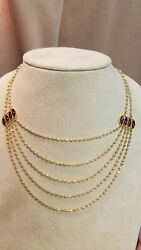 22k Yellow Gold Bib Necklace W/ Enamel Accents Reversible Red To Green 25.4 Gram