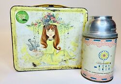 Vintage 1956 Junior Miss Metal Aladdin Lunchbox, W/ Thermo Cup Missing Lid And Cap