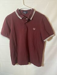 Fred Perry Men#x27;s Polo Shirt Adult Large White Logo Red Short Sleeve $25.00