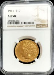 1911 Gold Us 10 Dollar Indian Head Eagle Coin Ngc About Uncirculated 58