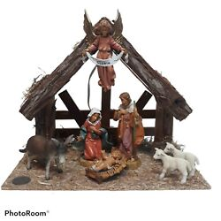 Fontanini Heirloom 8 Piece Nativity Set And Stable W/lights 54519 Pamphlets Box