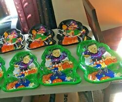 7 Vintage Halloween Frankenstein And Witch Candy Bowl Tray Dish Berman ,ind