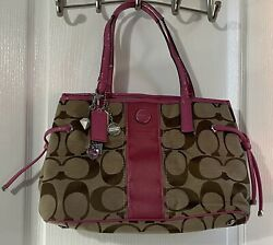 COACH Bag Purse Beige Brown Pink Signature FREE SHIPPING $35.00