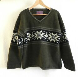 Artesania Handknitted 100 Wool Sweater Chunky V-neck Handwash/cold Water Size L