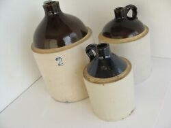 Nice Collection Of 3 Vintage Glazed Stoneware Whiskey Jugs Brown/tan 1/2,1,2 Gal