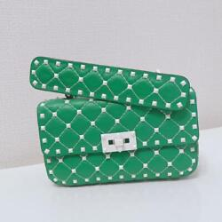 Auth Valentino Rockstud Quilted Hand/shoulder Chain Bag Green Used From Japan