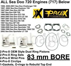 All Sea Doo 720 Engines 717 Pwc Listed 83 Mm Bore Pro-x Pistons Gasket Set