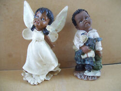Rare Vintage Set Of Boy And Girl Damaged Angel African American Figurines