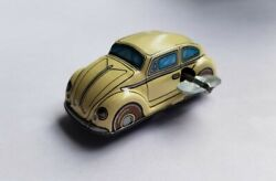 Vw Beetle Tin Wind Up Toy - Made In Japan - Beautiful Condition Works Vintage