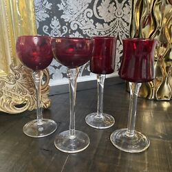 Set Of 4 Cordial Glasses Clear Stems With Ruby Red Bowls Four Unique Shapes