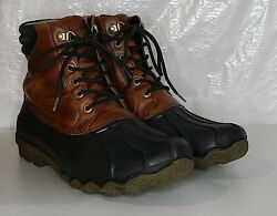 Sperry Top-sider Brown Leather/rubber Waterproof Lace Up Duck Boots Mens Size 8