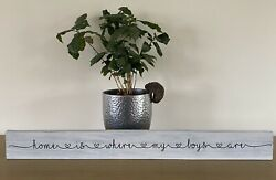 Home Is Where My Boys Are Heart Font Sign Distressed Grey Shabby Chic