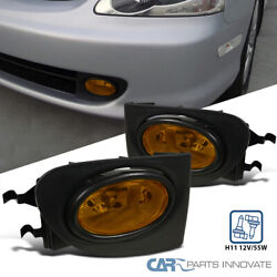 For 02-05 Honda Civic Si 3dr Hatchback Ep3 Yellow Bumper Lamps Fog Lights+switch